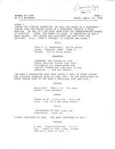 """The first page of """"The Sounds of Life"""" script, circa 1992"""