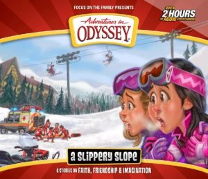 """Cover image of Adventures in Odyssey Album #71, """"A Slippery Slope"""""""