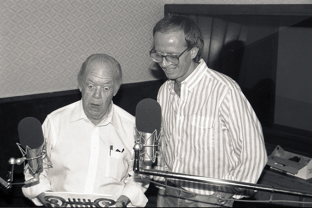 """Hal Smith (left) and Chuck Bolte during the recording of """"Gone Fishing,"""" 1986"""