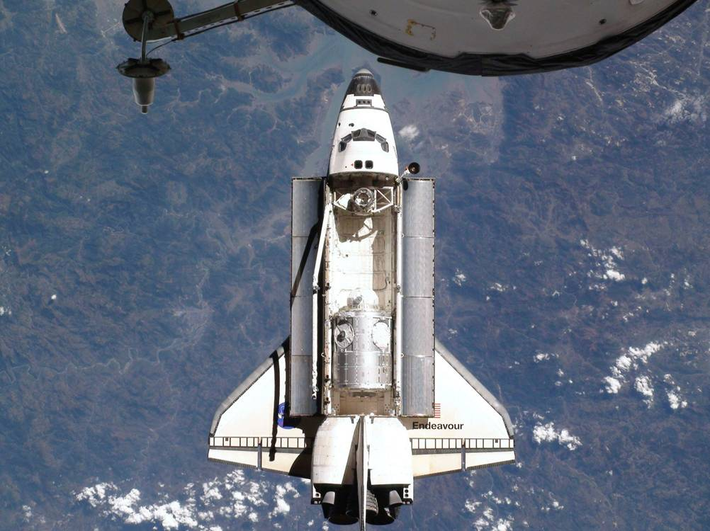 The space shuttle in orbit from the International Space Station